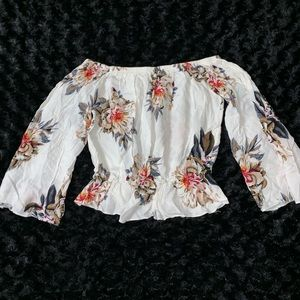 Off The Shoulders White & Flowers Crop Top